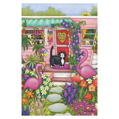 Flamingo Cat Garden Flag - 119762