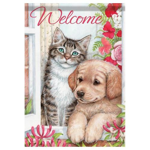 Welcome Loyal Friends Cat Dog Garden Flag - 45563