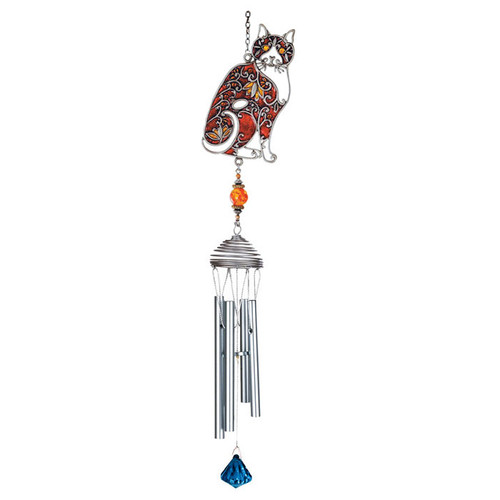 Colorful Red Cat Art Windchimes - 15526R
