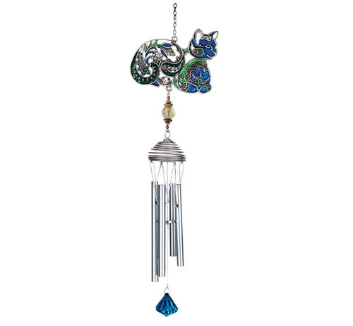 Colorful Blue Cat Art Windchimes - 15526BLU