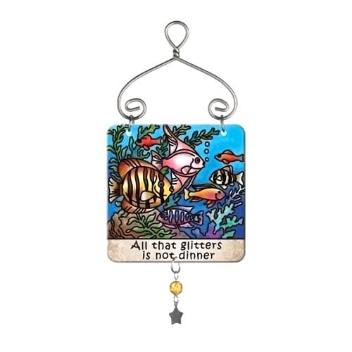 Cat Tropical Fish Dinner Mini Sun Catcher Sign - JSW232
