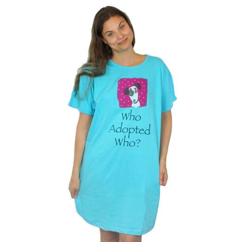Who Adopted Who Dogs Theme Blue Sleep Shirt Pajamas 315OT