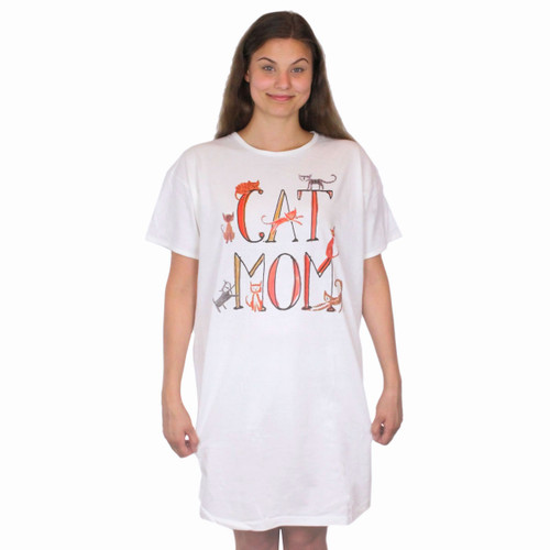 Cat Mom Theme Sleep Shirt Pajamas - 708OT