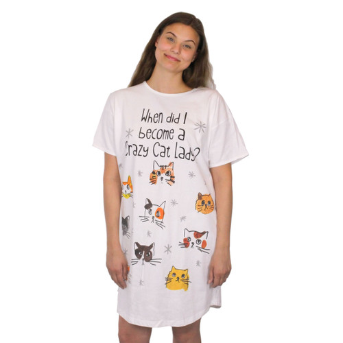 When Did I Become a Crazy Cat Lady Theme Sleep Shirt Pajamas - 329OT