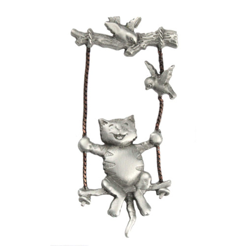 Cat on Tree Swing Lapel Clutch Pin Pewter - 1086CP