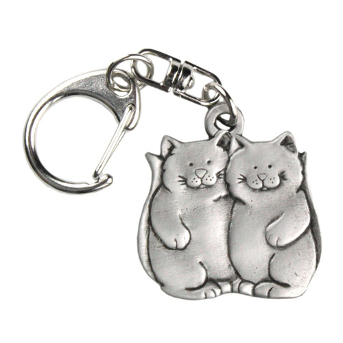 Two Cats Pewter Key Chain 1865KP