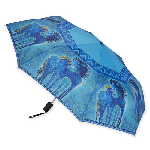 Laurel Burch Compact Folding Umbrella Blue Horse LBU0010A