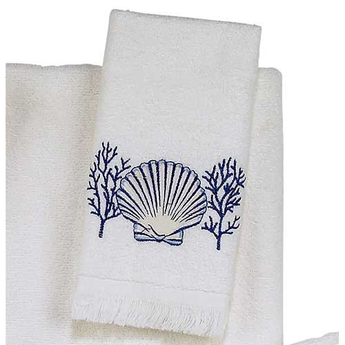 "Sea Shells ""Nassau White"" Fingertip Towel 35424"