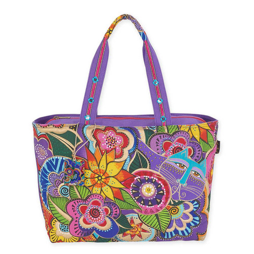 Laurel Burch Carlotta's Garden Quilted Fabric Shoulder Tote LB5571
