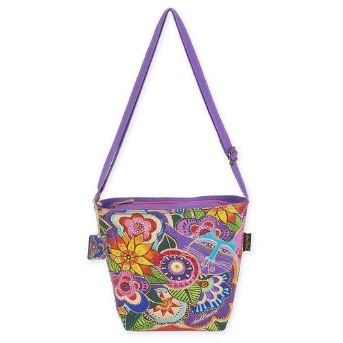 Laurel Burch Carlotta's Garden Quilted Fabric Crossbody Tote LB5572