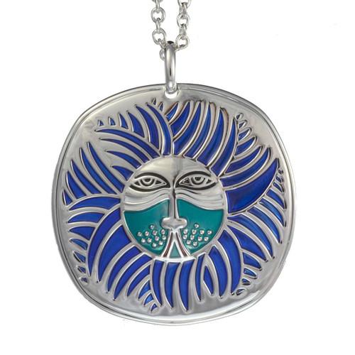 Soliel Lion Laurel Burch Necklace Blue 5000