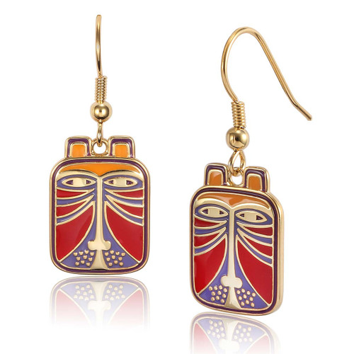 Toshio Cat Laurel Burch Earrings Red - 5007