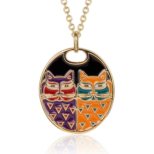 Portrait Pair Cats Laurel Burch Necklace Black Colorful - 5010