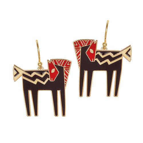 Temple Horse Laurel Burch Earrings Black-Red-Gold 5014