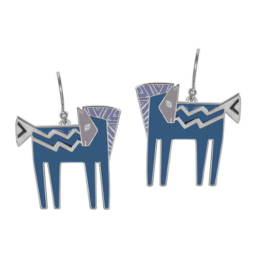 Temple Horse Laurel Burch Earrings Blue-Silver 5015