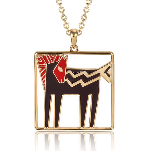 Temple Horse Laurel Burch Necklace Black-Red-Gold - 5016