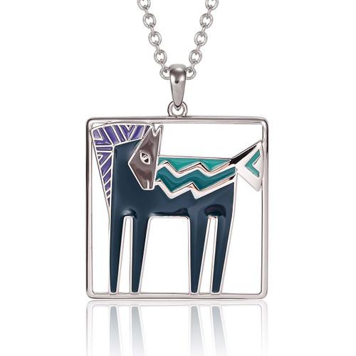 Temple Horse Laurel Burch Necklace Blue-Silver Tone - 5017