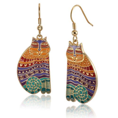 Rainbow Cats Laurel Burch Earrings Bright Enamel Colors - 5026