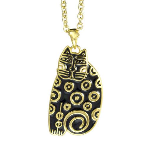 Tribal Cat Laurel Burch Necklace Black-White 5032