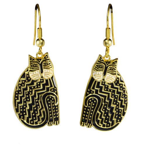 Tribal Cat Laurel Burch Earrings Black-White 5033