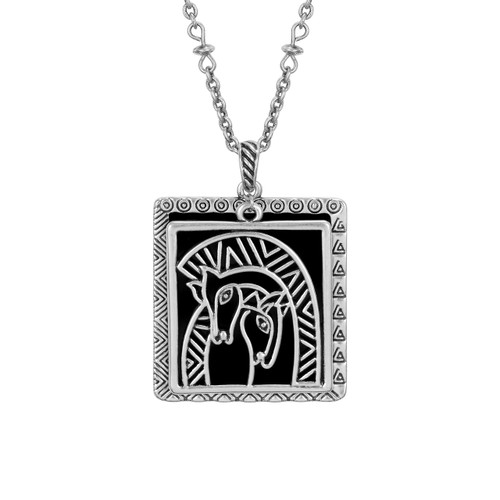 Embracing Horses Laurel Burch Necklace Black - 5043