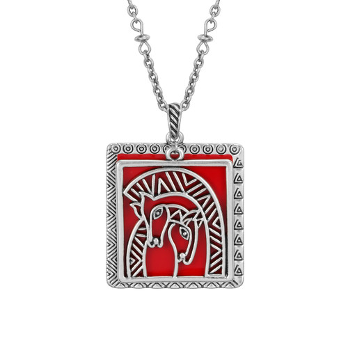 Embracing Horses Laurel Burch Necklace Red 5044
