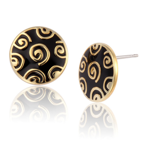 Jubilee Stud Laurel Burch Earrings Black-Gold - 6016