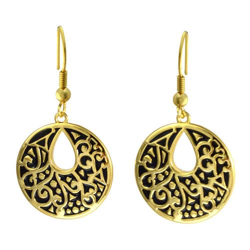 Harmony Laurel Burch Earrings Black-Gold 6025