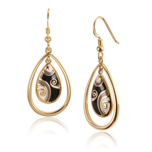 Primal Tear Laurel Burch Earrings Black-Cream-Gold - 6002