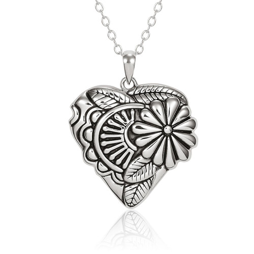 Flowering Heart Sterling Silver Laurel Burch Necklace - 4024