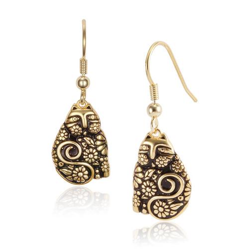 Flowering Feline 14K Gold Plated Laurel Burch Earrings 4034