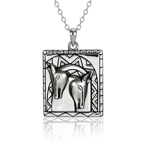 Embracing Horses Sterling Laurel Burch Necklace 4039