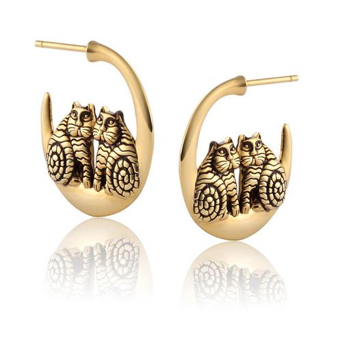Rainbow Cats 14K Gold Plated Laurel Burch Earrings 4049