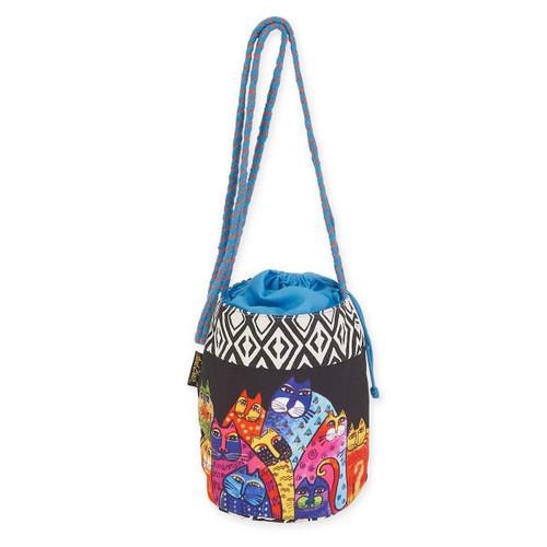Laurel Burch Whiskered Cats Drawstring Crossbody Tote Bag LB5700D