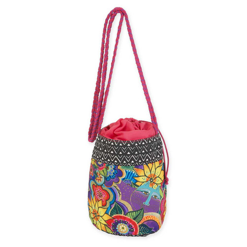 Laurel Burch Carlotta's Garden Cat Drawstring Crossbody Tote Bag LB5700F