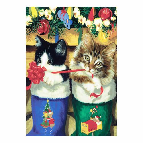 Kitty Cats Holidays Christmas Stocking Garden Flag - 111235