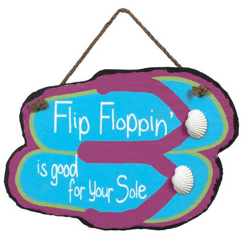 Hand Painted Flip Flop Slate Sign 36686