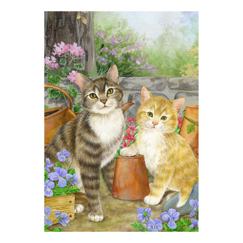 Flower Kittens Cats Garden Flag - 112081
