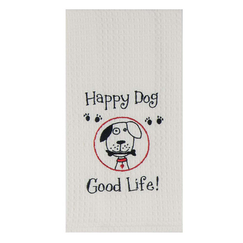 Happy Dog Embroidered Waffle Cotton Towel - F0780