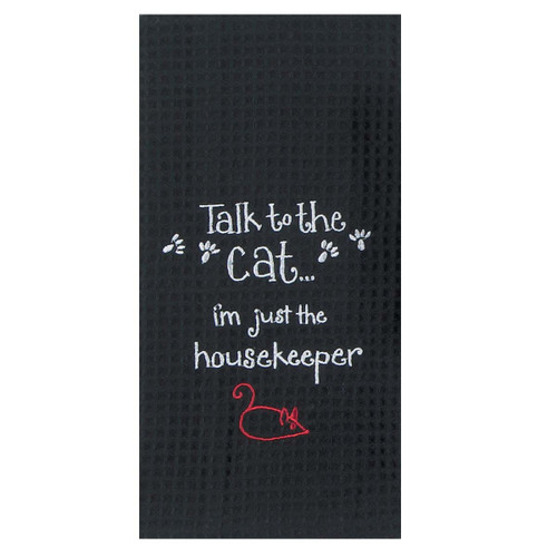 Housekeeper Cat Embroidered Waffle Cotton Towel - F0781