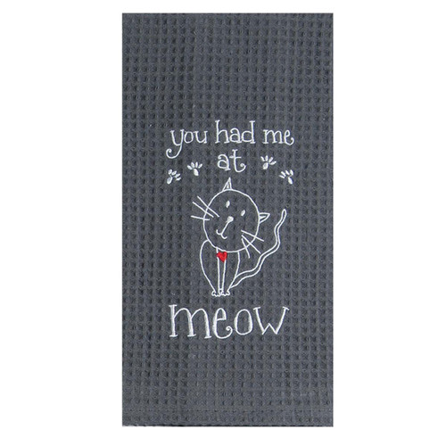 Meow Cat Embroidered Waffle Cotton Towel - F0782