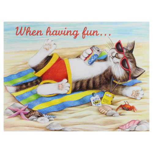 "Cat Beach Birthday Card - "" "" - BDG11445"