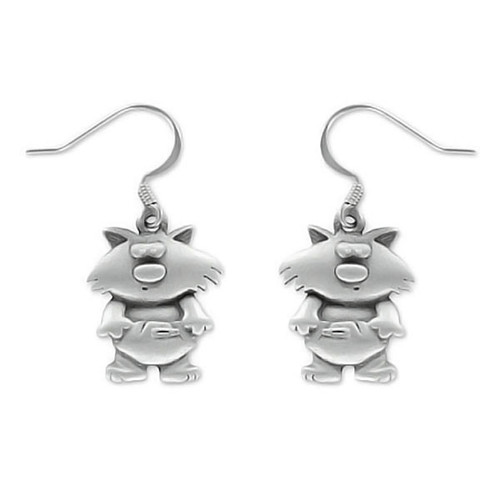 Baby Kitty Cat with Diaper Pewter Drop Earrings 6631EFP