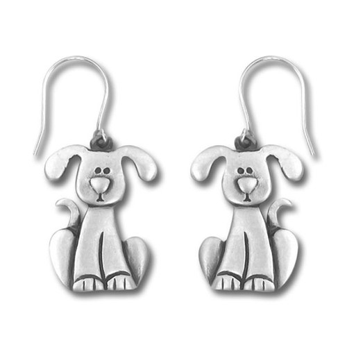 Dog with Drop Ears Pewter Drop Earrings 3997EFP