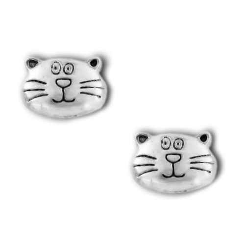 Happy Cat Face Pewter Stud Earrings 3520EP