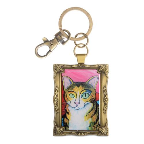 Brown Tabby Pawcasso Cat Key Chain 12031
