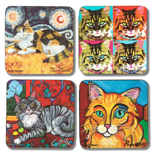 Long Haired Cats Paw Palettes Coasters - 4 Set - 12068