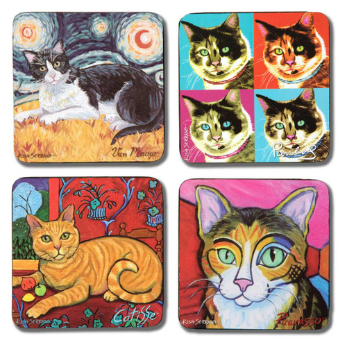 Short Haired Cats Paw Palettes Coasters - 4 Set - 12069