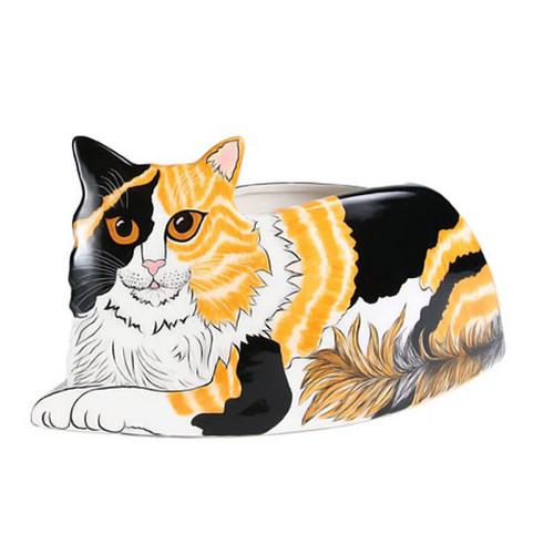 """Patches Calico Cat 14"""" Long Cat-Shape Vase Planter 45312"""