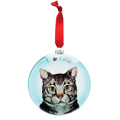 "Rascal Gray Tabby 5"" Glass Cat Christmas Ornament 45412"